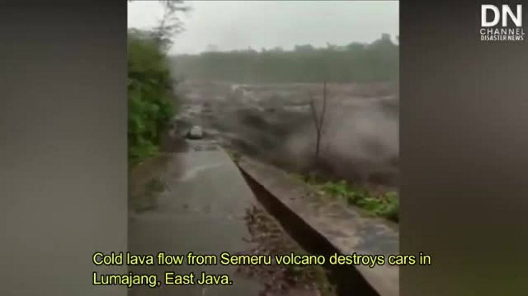 Cars and roads were destroyed due to Cold lava flow from Semeru volcano in Lumaj