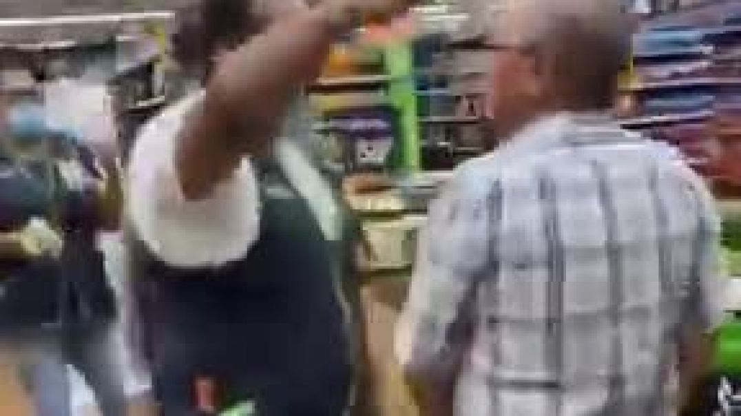Maskless shopper fights his way into Walmart