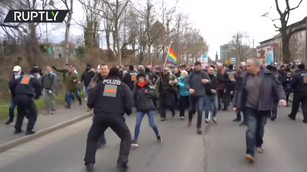 Banned demo Protesters scuffle with police at Dresden anti-lockdown rally