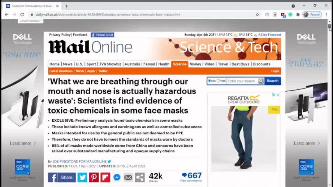 Scientists Find Evidence Of Toxic chemicals In Some Face Masks!!
