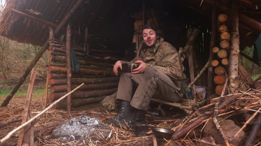 BUSHCRAFT VIBES in the RAIN! - reed  heather hut, overnight, tree felling, axe work part 2
