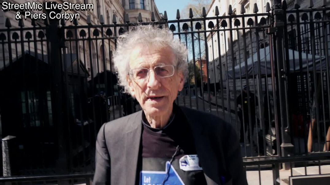 Piers Corbyn outside Downing St & the Cabinet Office 23.4.21