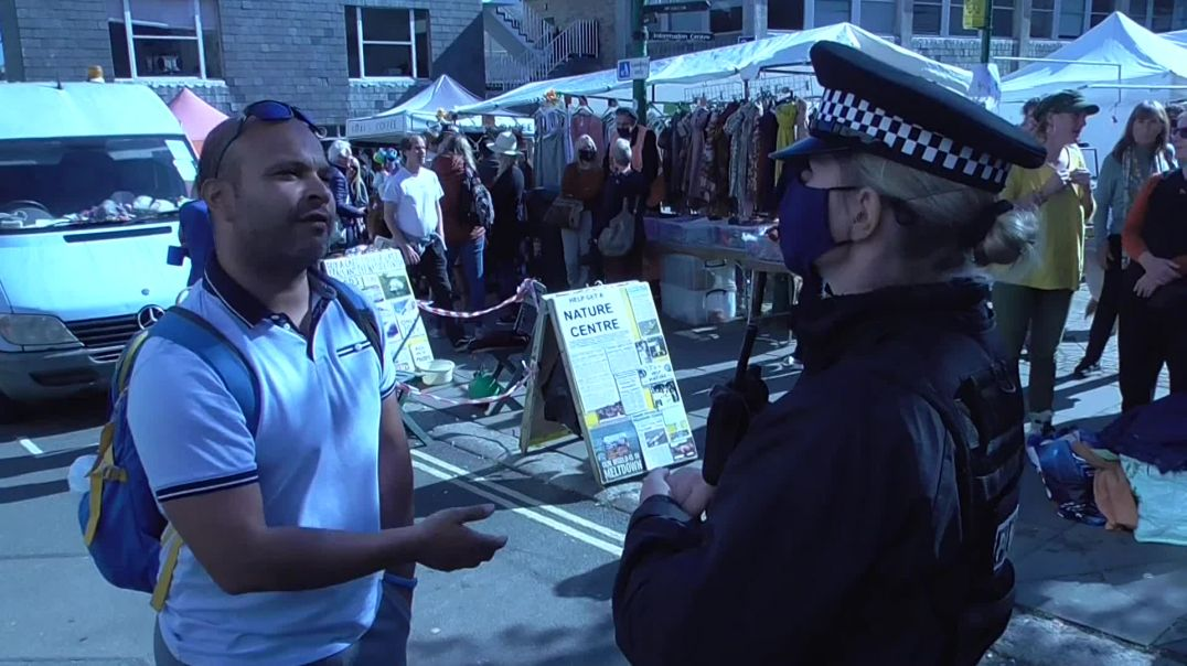 Man Confronts Police Giving Them a Taste of Their Own Medicine in Anti Lockdown Demo