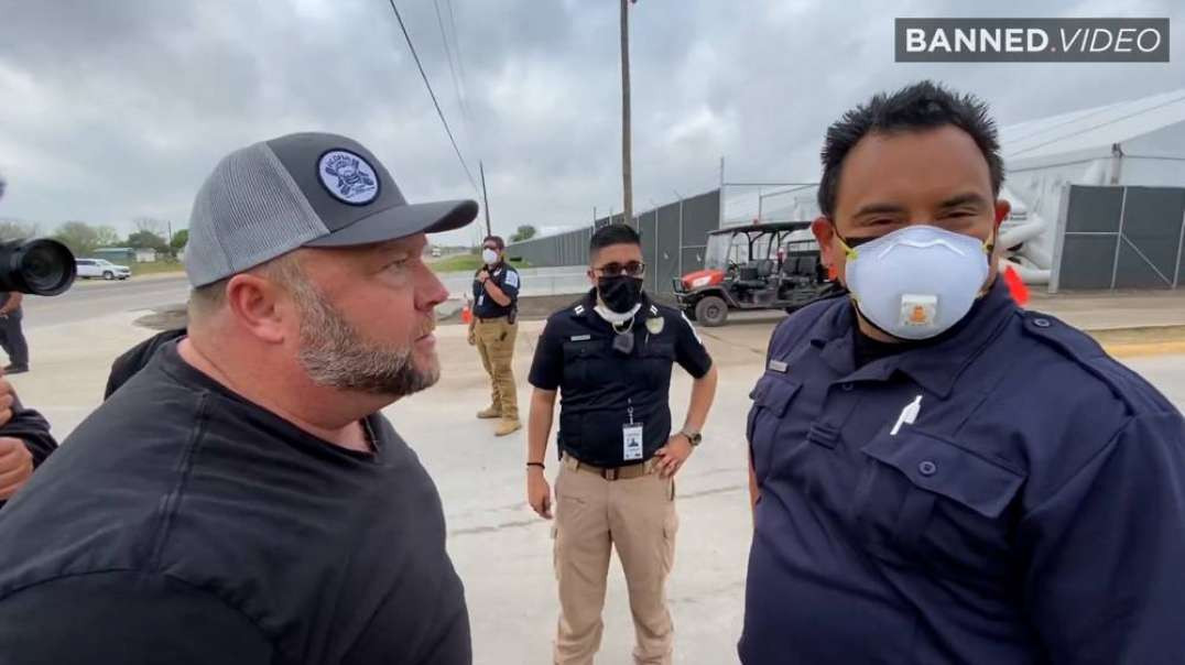 Alex Jones Goes Off On Security Guarding Child Trafficking Facility