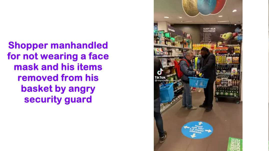 Security guard forcibly stops MASKLESS shopper from shopping