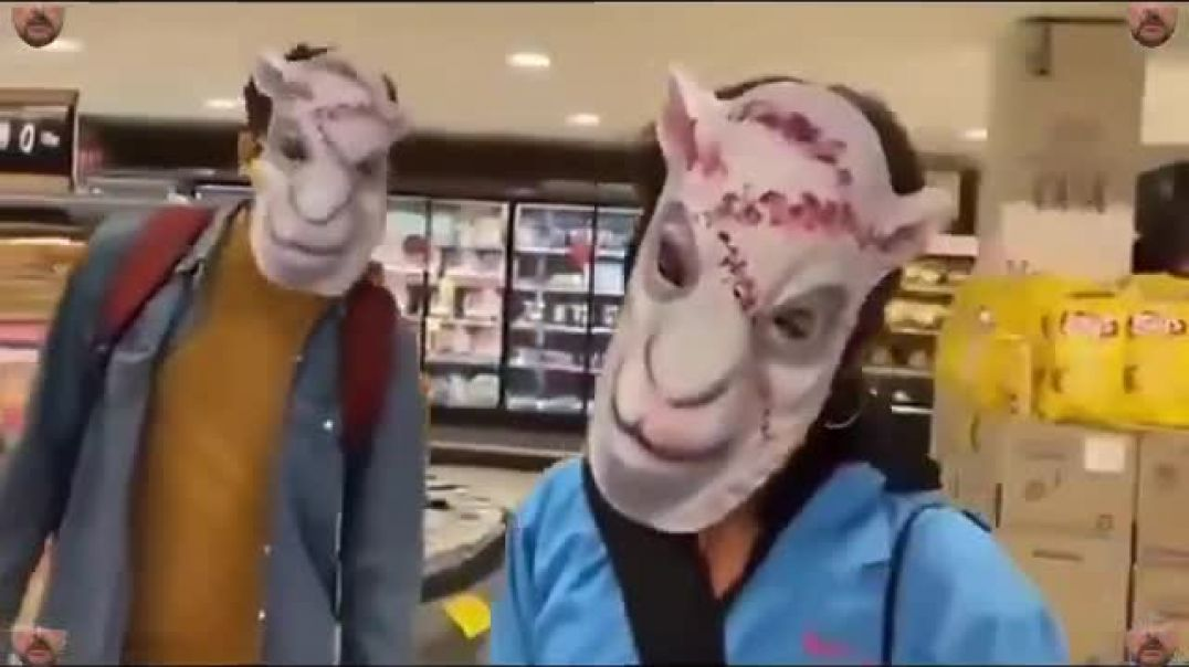 Shopping With Sheep Masks On