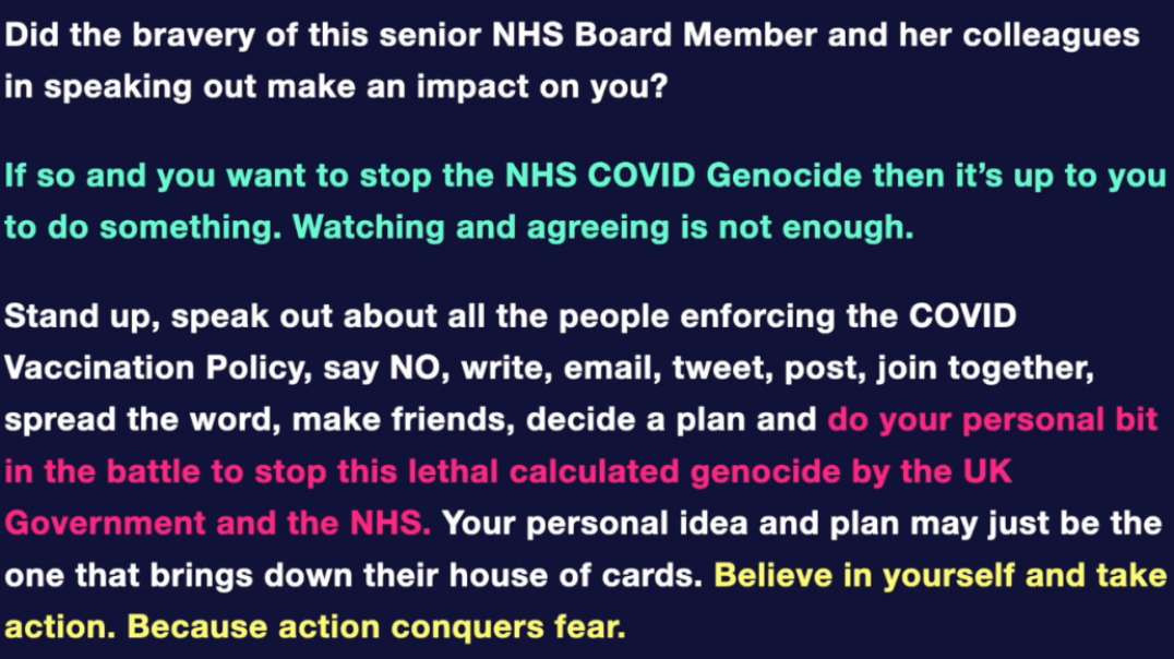 Senior NHS Board Member Warns: Stop The Genocide Or Our Children Are Next