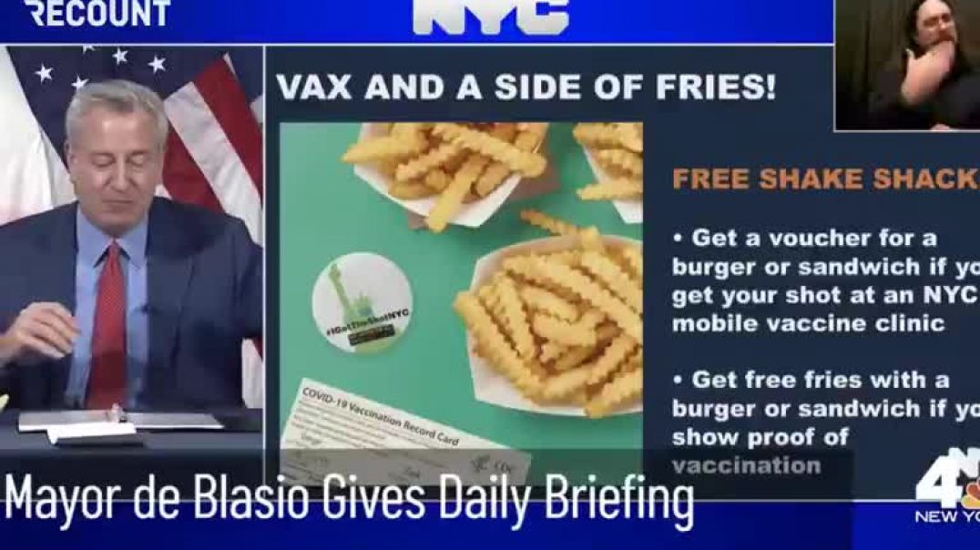 NYC Mayor Announces Free Food For The Vaccinated.