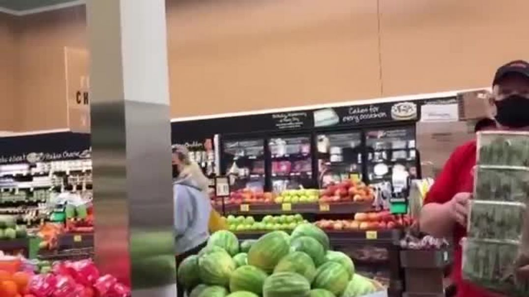 Poor Brainwashed Sheep Confusing Himself To The Amusement Of Woman Shopper