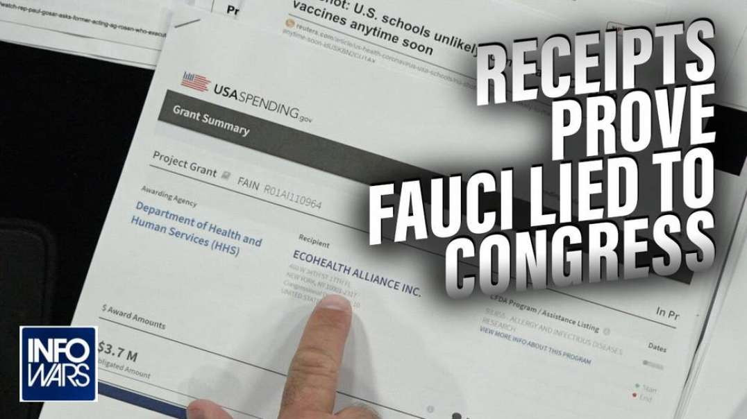 Receipts Prove Fauci Lied to Congress About Funding Wuhan Lab