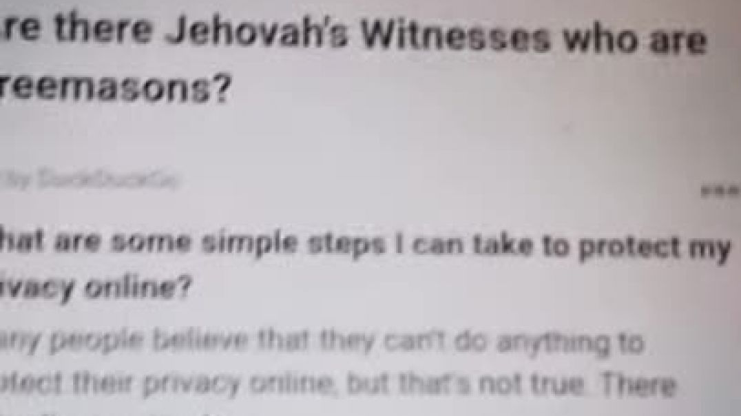 Are there any Jehovah's Witnesses who are Free Masons Check out what an Master Mason says
