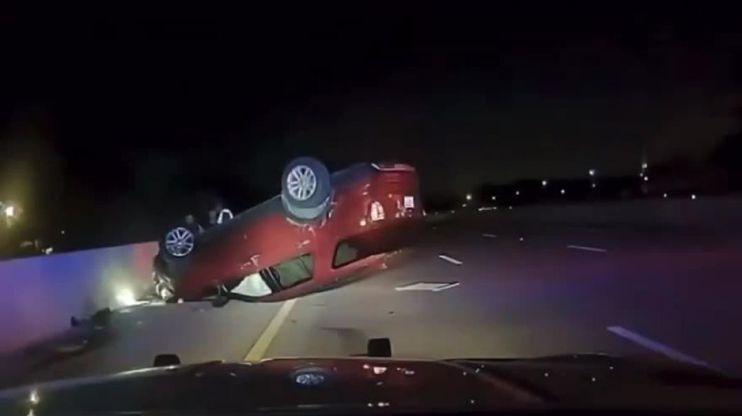 Police officer causes an accident and flips a car over driven by a pregnant woman trying to get to h