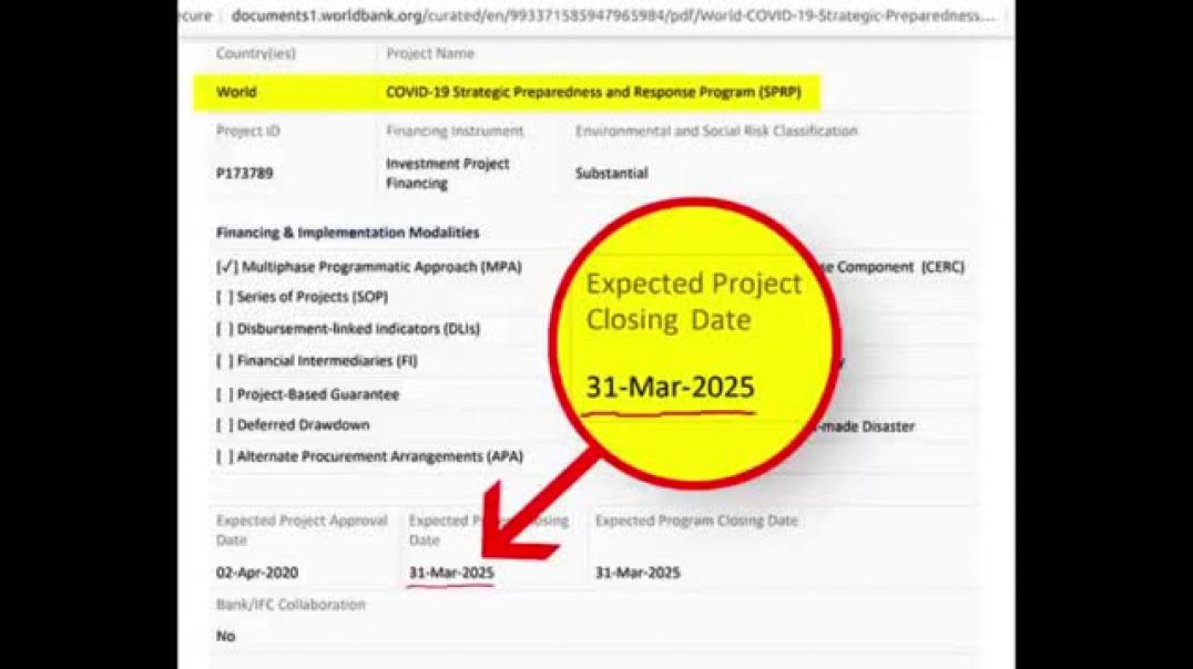 """World Bank Lists Covid19 As A """"Project"""" With A Closing Date Of 2025"""