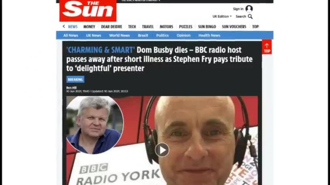 ANOTHER BBC PRESENTER DIES AFTER VACCINE - DOM BUSBY