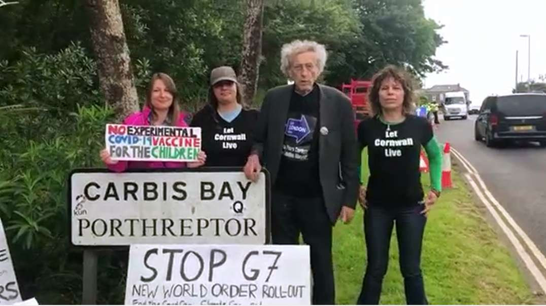 Piers Corbyn and team at G7, Carbis Bay, Cornwall 11.6.21