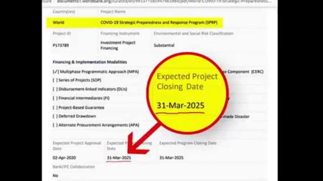 WORLD BANK LISTS COVID-19 AS A PROJECT RUNNING FROM 02 APR 2020 TO 31 MAR 2025