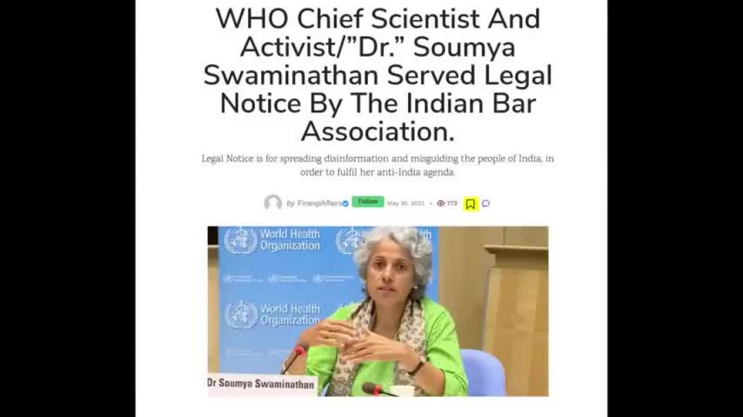INDIAN BAR ASSOCIATION SERVES LEGAL NOTICE ON WHO DR WHO MISLED THE GOV PUSH VAX OVER iVERMECTIN
