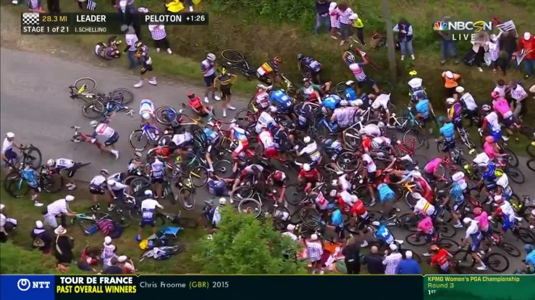 Fan with sign causes huge pileup in Stage 1 of the Tour de France Cycling.