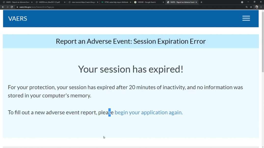 Ridiculous!, VAERS Event Submission Form Purposefully Times Out & Loses Data.