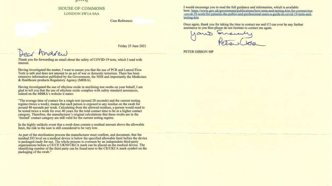 """25.06.2021 - """"House of Commons"""" reply re: Nasal Swabs """"Sterilised by Ethylene-Oxide G"""