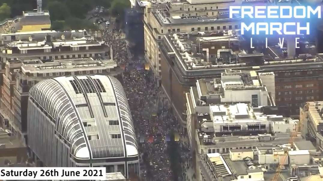 June 26th London England 30 Minutes Aerial Helicopter Footage Huge Massive Freedom Rally March Demo