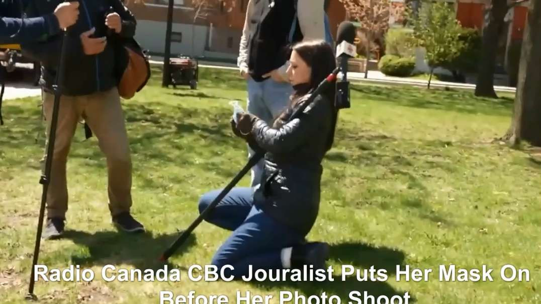 May 1st Montreal Covid-19 Restrictions Protest Rally Radio Canada Journalist Caught Putting On Mask