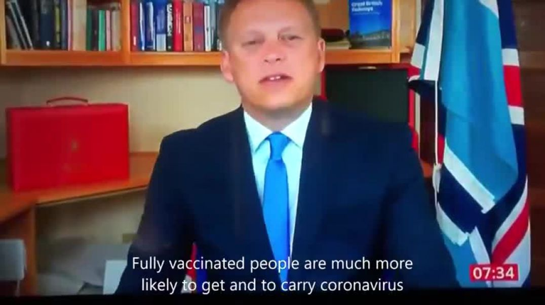 UK Transport Secretary Grant Shapps: Fully Vaccinated People Much More Likely to Carry Coronavirus