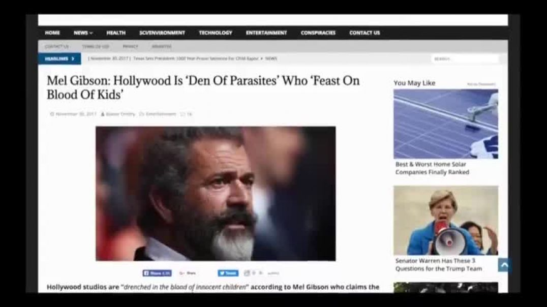 """MEL GIBSON 'HOLLYWOOD IS A DEN OF PARASITES' WHO """"FEAST ON THE BLOOD OF KIDS"""""""