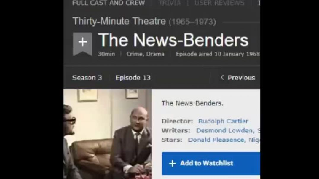 """1968 TV Show Thirty Minute Theater """" News Benders"""" THEY TELL YOU, truth bomb"""