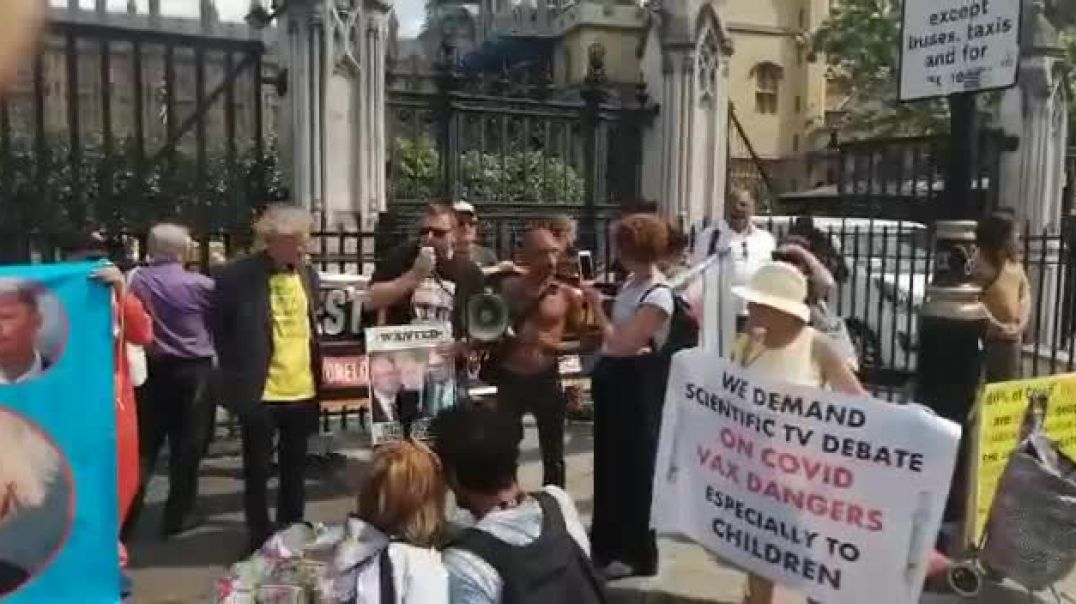 David Clews addresses the gathering outside Parliament