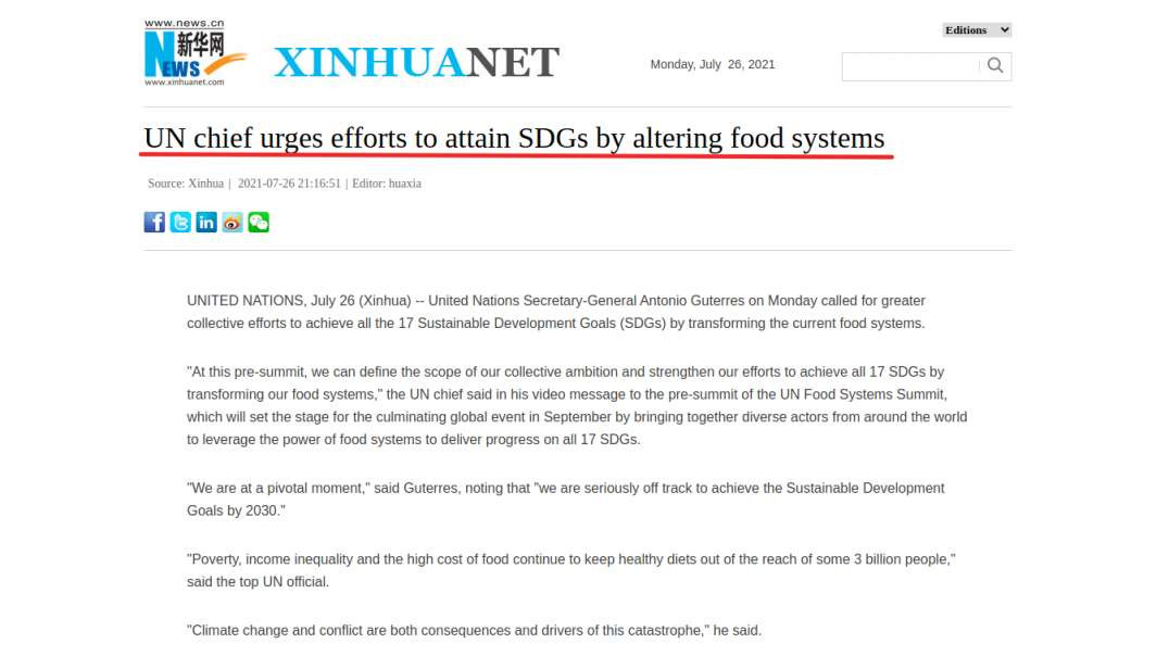 United Nations Food Supply Control Pre-Summit Starts Today!