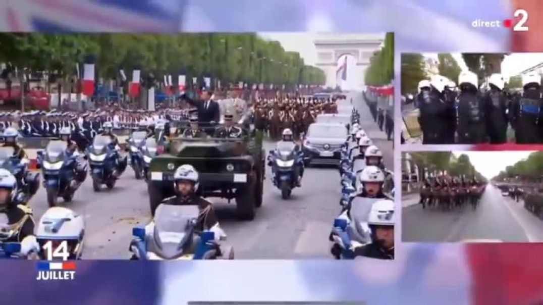Macron widely booed and whistled at by the crowd during his passage along the Champs-Elysées
