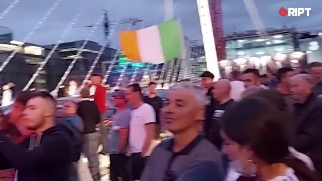Thousands of protesters assembled outside the Convention Centre in Dublin to say #NoVaccinePasspor