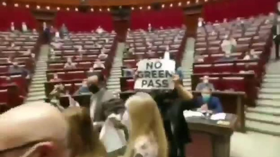 """Italian MPs protest against the country's """"Green Pass"""" vaccine passport scheme."""