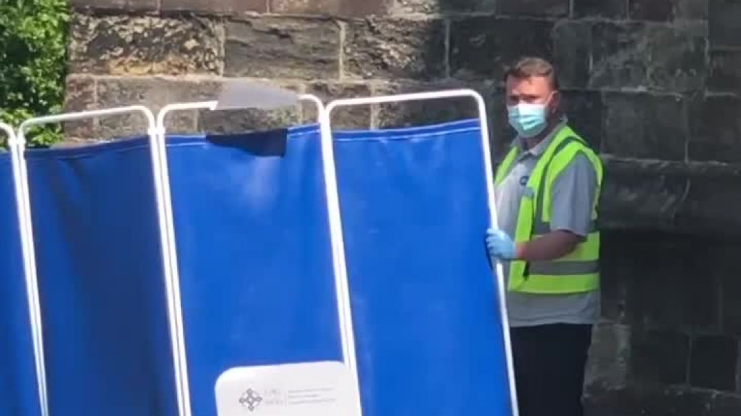 Bangor, North Wales 21-7-21 A man collapsed outside the vaccination Center after receiving his Vacci