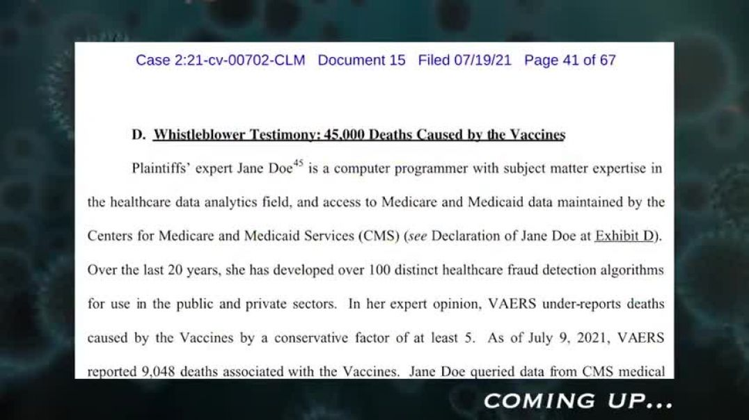 VACCINE LAWSUIT - INSIDER BLOWS WHISTLE ON COVERUP OF OVER 45,000 DEATHS AFTER COVID JAB