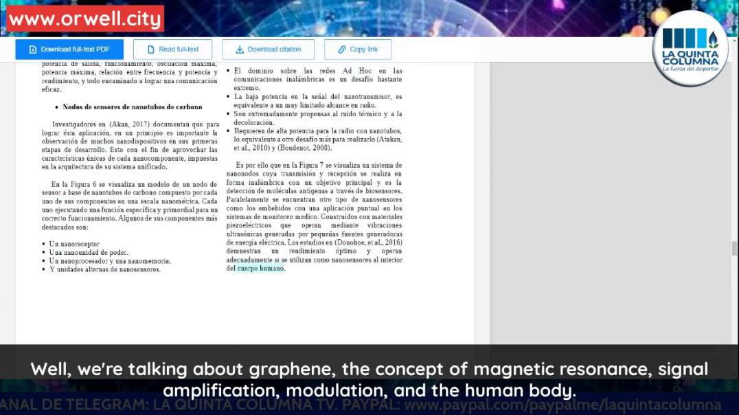 [GRAPHENE IN VACCINES] LA QUINTA COLUMNA DISCUSSES A STUDY ON THE PROPERTIES OF GRAPHENE + EMF