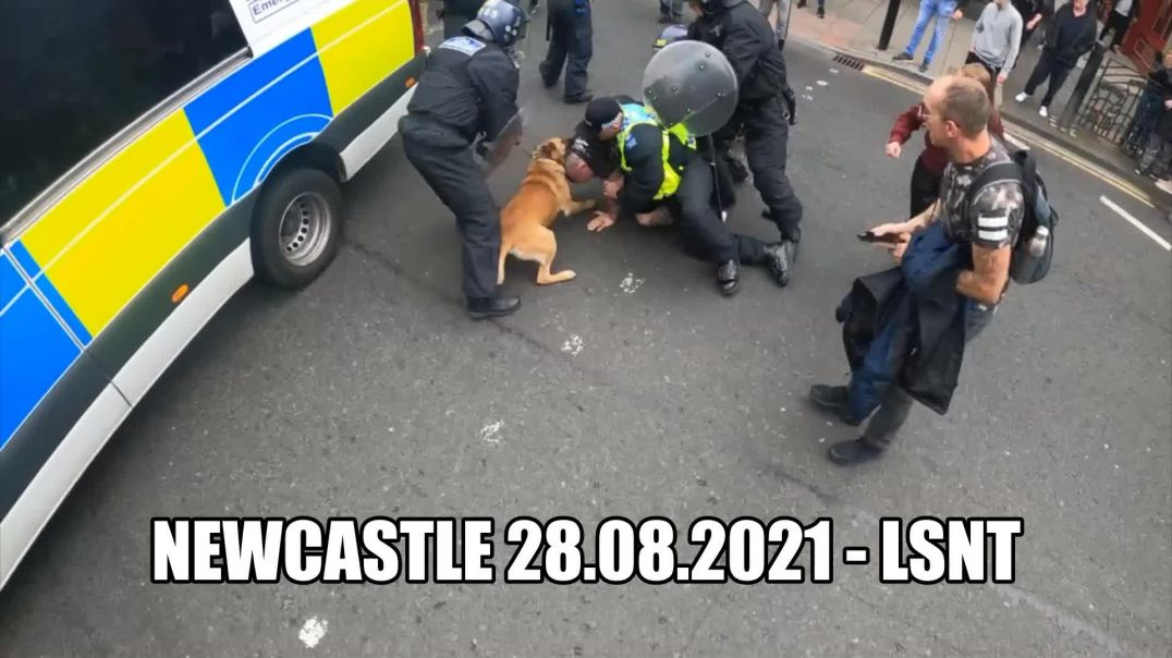 Man Attacked By Police Dog Newcastle Protest 28th August 2021