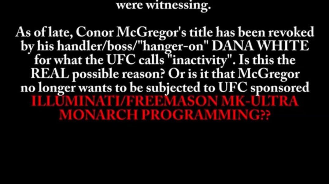 Selling Out His People Vaccine Holocaust! McGregor Is Under MK ULTRA
