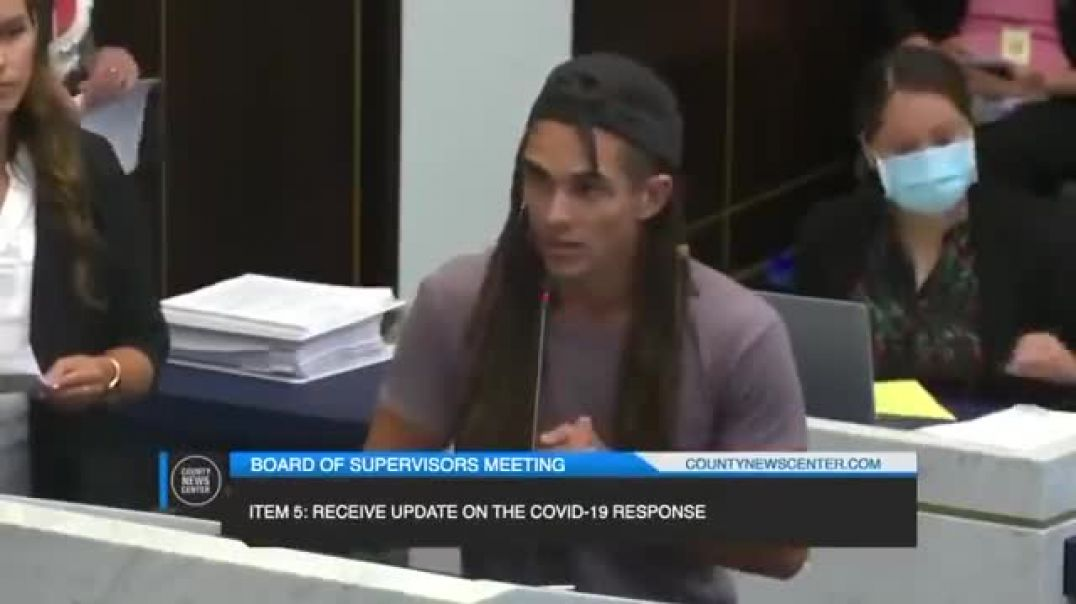 Young man confronts government officials over Covid hoax in San Diego County.