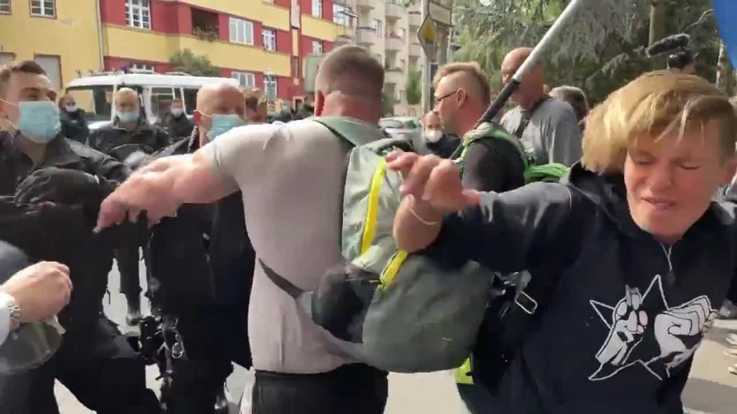 Berlin police punch use batons and pepper spray people wanting their freedom back