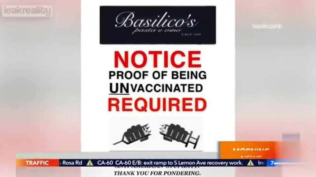 restaurant only accepting NON - VACCINATED