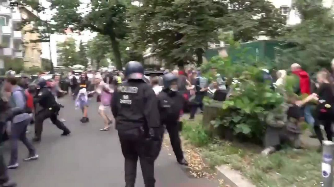 German police are clashing with protesters.