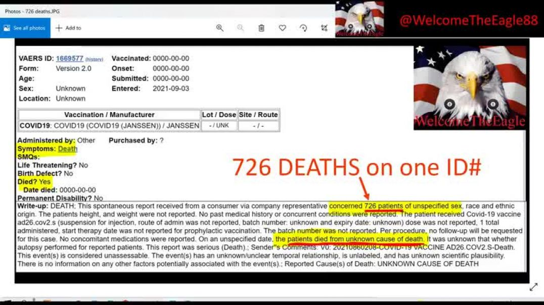 VAERS BOMBSHELL!  They just bundled 726 DEATHS all into one ID#!!!!!!!!!!!!!