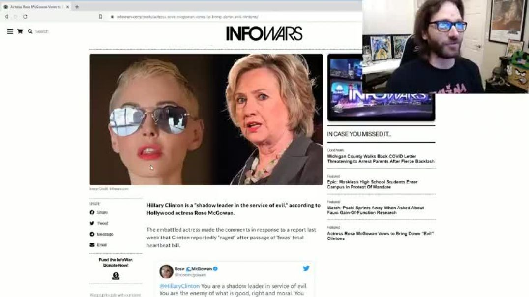 ROSE MCGOWAN VOWS TO BRING DOWN THOSE LIZARD PEOPLE CLINTONS