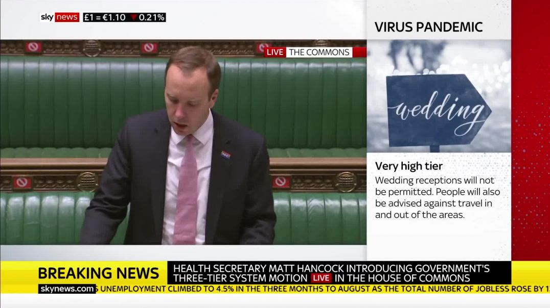 Scumbag Halfcock dismisses critics of lockdown rules as MPs set to vote on UK measures - Oct 13, 202