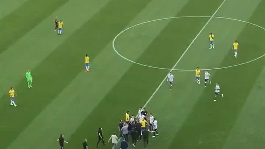 Brazilian health authorities have stormed onto the pitch and stopped the Brazil over COVID rules.