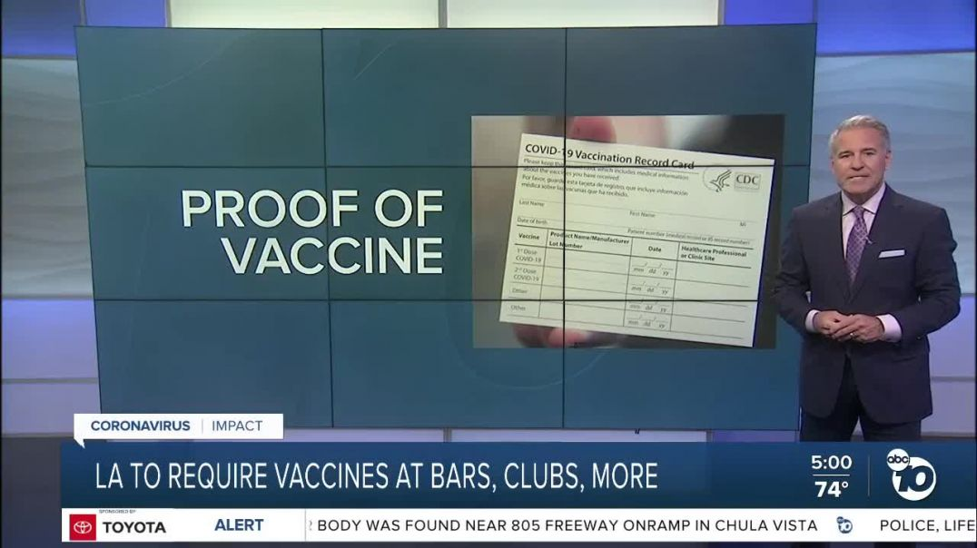 Los Angeles County to require COVID vaccine/test for outdoor events, vaccines at indoor bars