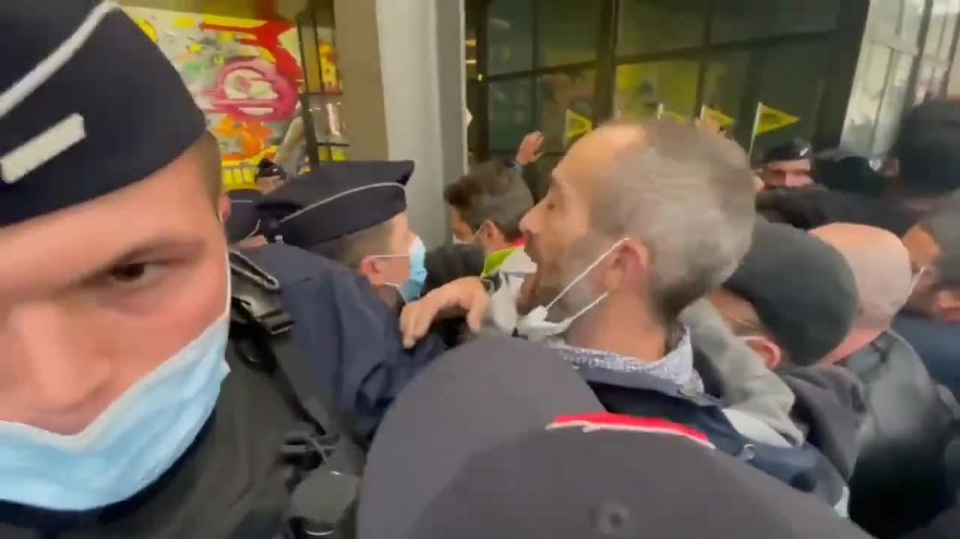 French Railway workers Protests During President Macron Ceremony for High Speed Train in Lyon