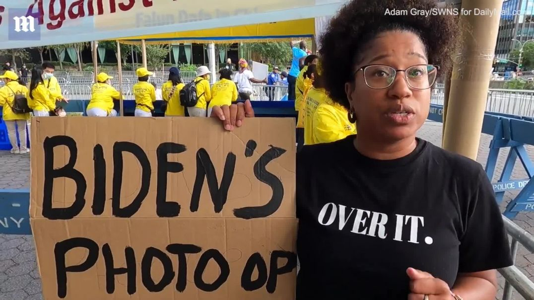 Anti-Biden protesters swarm the UN during president's visit